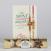 Set of 2 Divine Rakhi With Ferrero Rocher: Rakhi and Chocolates to Canada