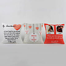 Set Of 3 Personalised Love Message Cushions: Personalised Gifts Canada