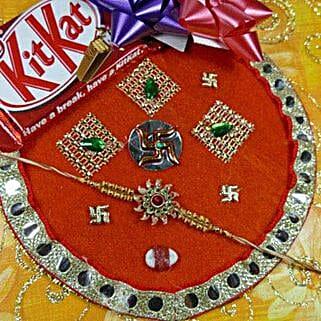 Stunning Rakhi Thali With Kit Kat: Rakhi to Winnipeg