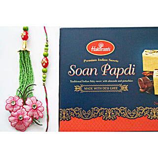 Sweet Pink Floral Bhaiya Bhabhi Rakhi: Rakhi with Sweets to Canada