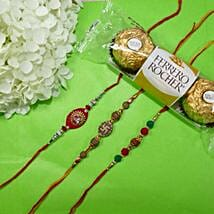 Traditional Rakhi Set Of Three With Rocher Ferrore: Set of 3 Rakhi in Canada
