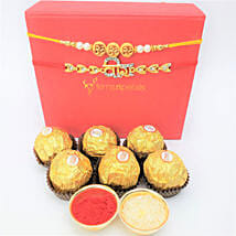 Traditional Rakhis And Rocher 6 Pieces Combo: Rakhi and Chocolates to Canada