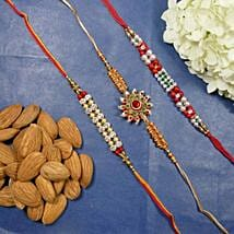 Trendy Rakhi Set Of Three With Almonds: Rakhi to Calgary