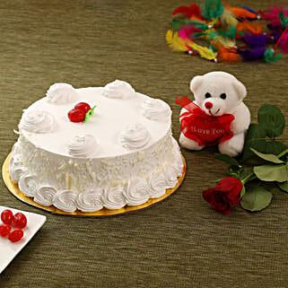 Vanilla Cake Combo: Valentines Day Cake Delivery in Canada