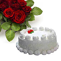 Vanilla Cake With Dozen Roses: Flowers with Cakes to Canada