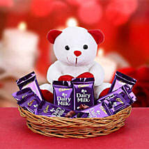 VDay Teddy N Chocolate Combo: Valentine's Day Gifts to Canada