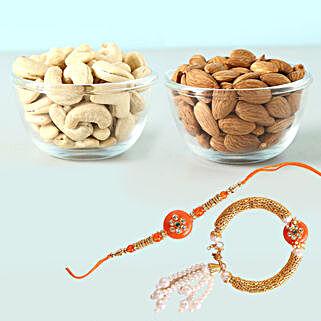 Vivid Bhaiya Bhabhi Rakhi And Dry Fruits Combo: Rakhi with Dryfruits to Canada