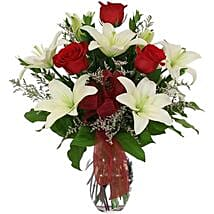 White lilies n roses in Vase: Women's Day Gifts to Canada