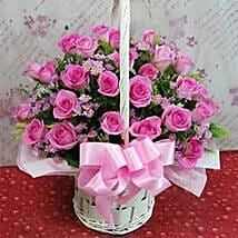 24 roses flower basket A CIN: Rose Day Gifts to China