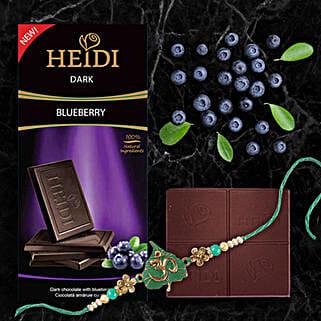 Heidi Blueberry Dark Chocolate And Rakhi Combo: Rakhi Delivery in China