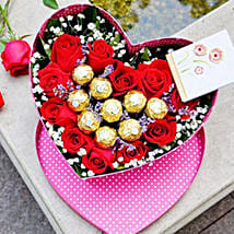 Roses N Chocolate In Heart Box Arrangement: Send Valentines Day Gifts to China