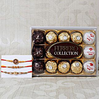 Aum Rakhi Set with Ferrero Rocher: Rakhi Delivery in Denmark