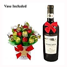 Classic Christmas Sweet Bouquet with Red Wine: Send Gifts to Denmark