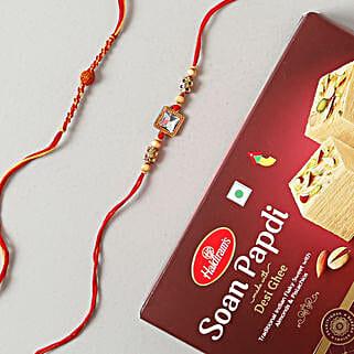 American Rakhi Set with Soan Papdi Sweet: Set of 2 Rakhi to Germany