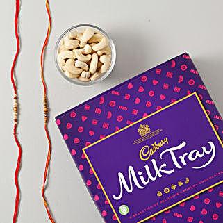 Beaded Rakhi Set With Dry Fruit Chocolate Hamper: Rakhi and Chocolates to Germany
