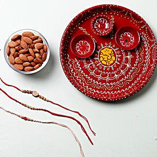 Dry Fruit Rakhi Set Pooja Thali Hamper: 3 Rakhi Set to Germany