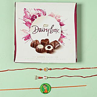 Family Rakhi Set with Milk Chocolate Box: 3 Rakhi Set to Germany