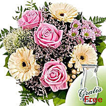 Flower Bouquet Ballade with vase: Rose Delivery in Germany