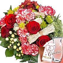 Flower Bouquet Velvet With Vase and Merci: Valentine Flowers to Germany