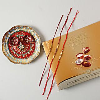 Premium Rakhi Set with Swiss Collcection Hamper: Rakhi Pooja Thali Germany