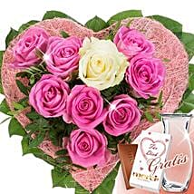 Rose Heart Von Herzen With Vase and Merci: Valentine's Day Roses to Germany