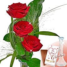 Rose Trio Serenade With Vase and Merci: Birthday Bouquet to Germany