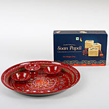 Soan Papdi with Puja Thali Hamper: Rakhi Pooja Thali to Germany