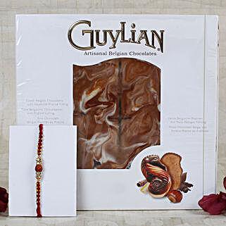 Auspicious Rudraksha Rakhi Belgian Chocolate: Rakhi Delivery in Greece
