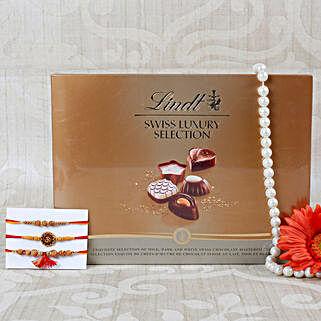 Elegant Desinger Rakhi Swiss Chococlate Hamper: Send Rakhi to Greece
