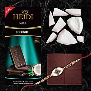 Heidi Coconut Dark Chocolate And Rakhi Combo: Send Rakhi to Hong Kong