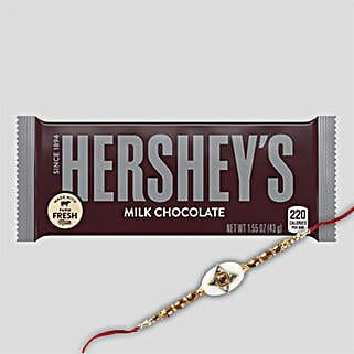 Hersheys Milk Chocolate And Rakhi Combo: Rakhi Delivery in Hong Kong