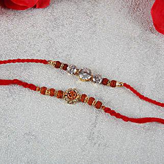 Auspicious Aum with Diamond Rakhi Set: Send Rakhi to Hungary