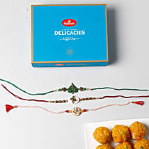 3 Colorful Rakhis With Boondi Laddu Combo: Send Rakhi With Sweets To Indonesia
