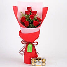 8 Red Roses With Ferrero Rocher Combo: Friendship Day Gifts to Indonesia