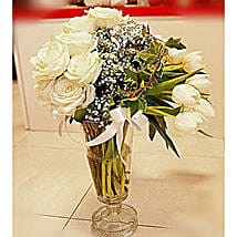 Peaceful Tulips Vase Arrangement: Valentine's Day Gifts to Indonesia