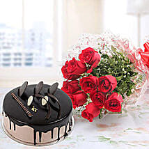 Red Roses And Chocolate Cake Combo: Send Ramadan Gifts to Indonesia