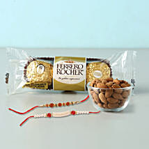 Rocher And almonds With 2 Designer Rakhis: Rakhi to Brother in Bahrain
