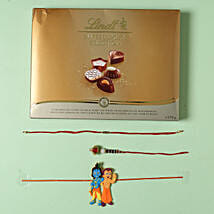 Family Rakhi set with Lindt Finest Swiss Chocolates: Rakhi Delivery in Italy