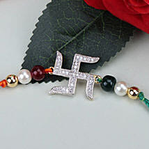 Swastik Beauty American Diamond Rakhi ITA: Send Rakhi to Italy