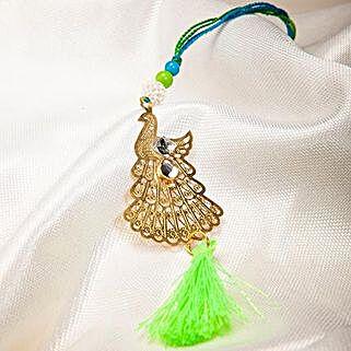Attractive Metallic Peacock Lumba Rakhi: Send Rakhi to Japan