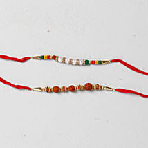 Beads And Rudraksha Rakhi Combo: Set Of 2 Rakhi To Kuwait