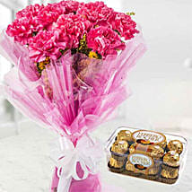 Charismatic Carnations And Chocolates Combo: Rakhi Gifts for Sister in Kuwait