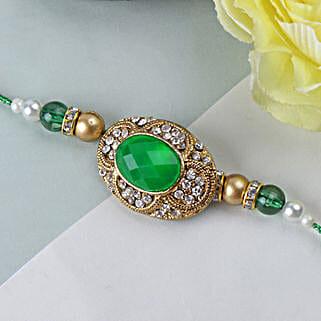 Green Emerald Stone Rakhi KUW: Send Rakhi to Kuwait