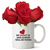 Love Quote Mug With Red Roses: Gift Delivery in Kuwait