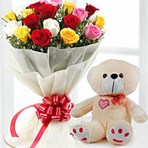 Mix Flowers And Teddy Combo: Rakhi Gifts for Sister in Kuwait
