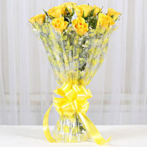 10 Bright Yellow Roses Bouquet: Flowers to Varanasi