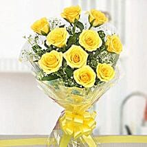 10 Bright Yellow Roses Bouquet: Send Flowers to Puducherry
