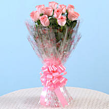 10 Charming Pink Roses Bouquet: Send Flowers to Tiruvottiyur