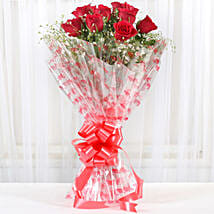 10 Red Roses Exotic Bouquet: Karwa Chauth Gifts Chandigarh India