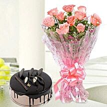 10 Pink Roses And Chocolate Cake Combo: